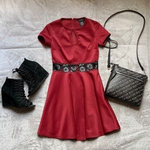 Burgundy Dress with Black Flower Cutouts
